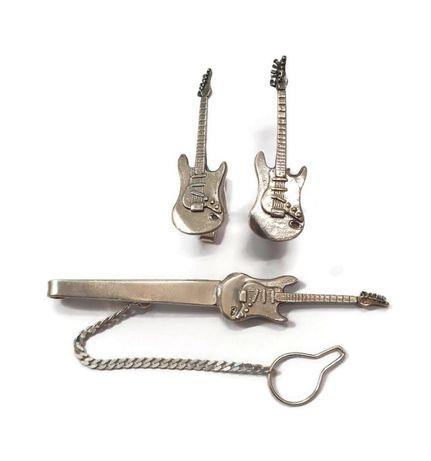 srebrne spinki do mankietów i do krawata 20,91g/925- gitara