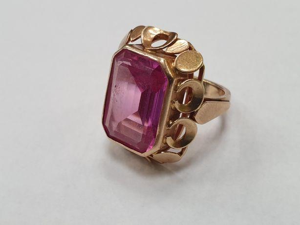 Duży złoty pierścionek damski/ 585/ 11.4 gram/ R17/ Ręcznie robiony
