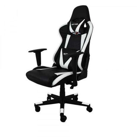 18275 Czarno-biały fotel gamingowy PATIOMAGE regulowany dla gracza