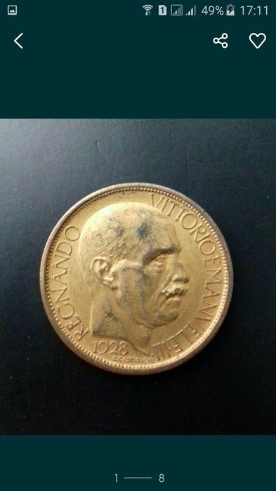 Монета Италия 2 лиры 1928 Бенито Муссолини Яготин - изображение 1