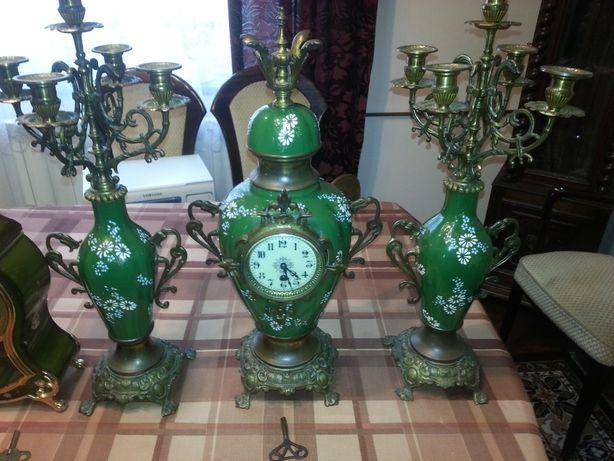 zegar stojący kominkowy porcelana z kandelabrami