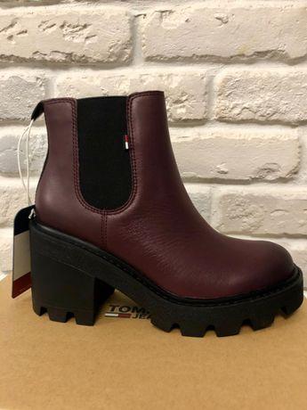 Женские бордовые ботинки tommy hilfiger