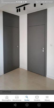 Drzwi wewnętrzne drewniane Pełne z blendą szare