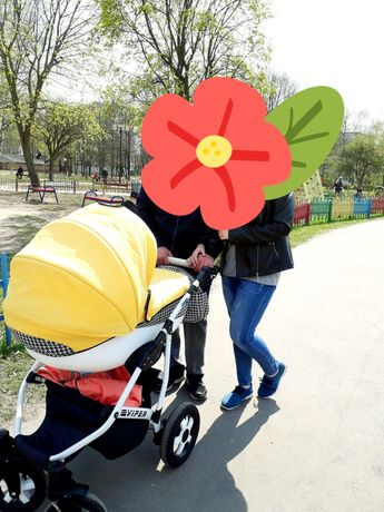 Детская коляска 2 в 1 Angelina Вайпер Фешн Бело-желтая
