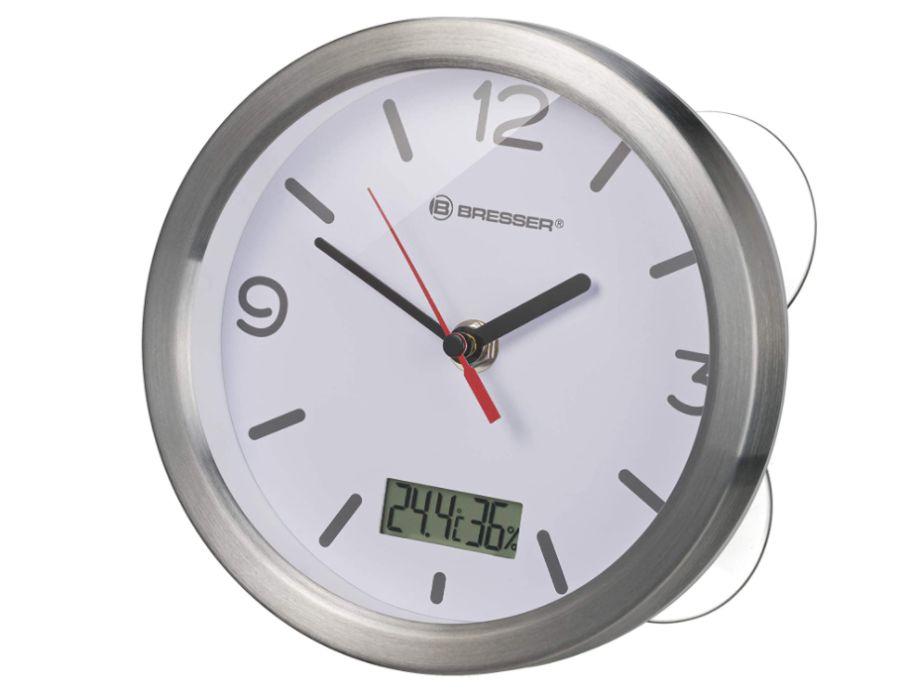 Relógio de parede para interior com medidor de temperatura e humidade