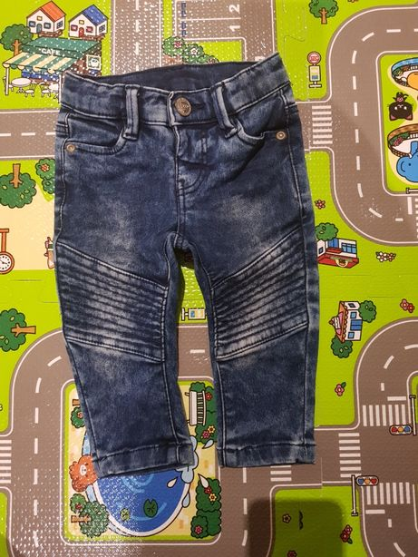 Spodnie jeans r.62 pas regulacja stan bdb+
