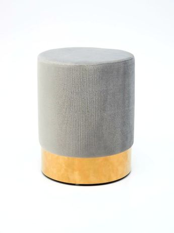 Пуфик, подставка для ног, серый с золотым цоколем