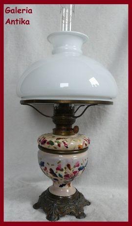 PATENT majolika lampa naftowa biała nietoperz