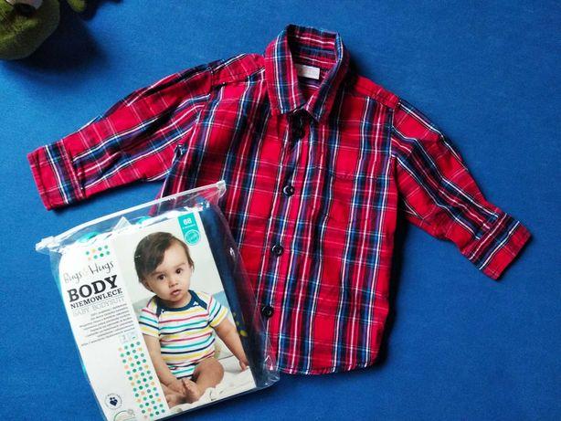 Koszula i 3 sztuki body 68 nowe