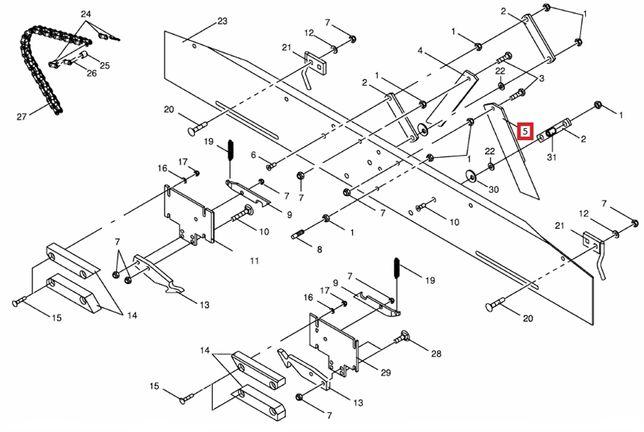Nóż Lewy aparatu sznurka 280221.8 Krone KR 125/130/155/160 Bellima