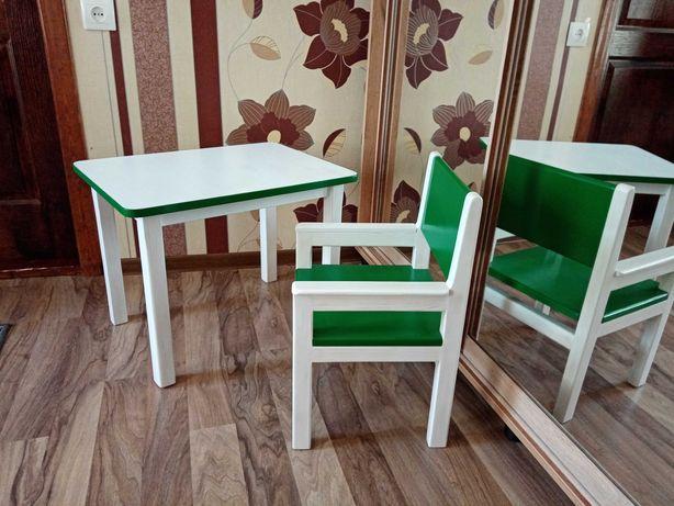 Стол и стул детский из дерева