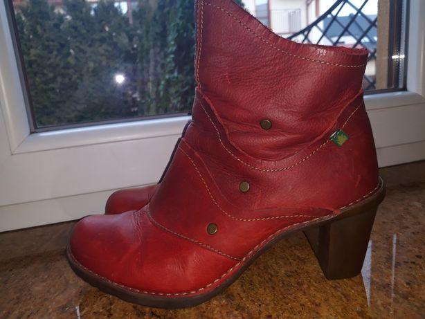 El Naturalista 26 cm Skórzane buty damskie skóra czerwone caminar