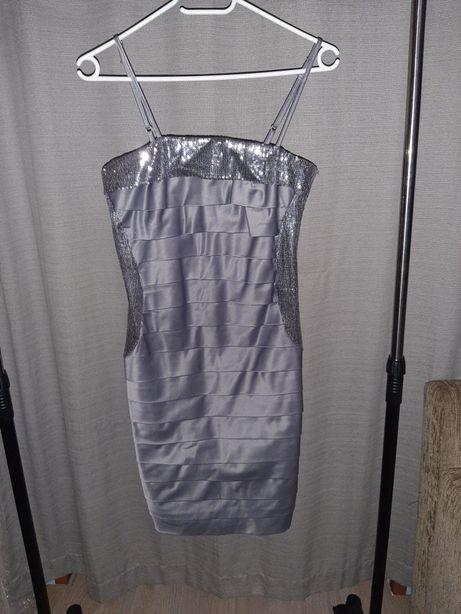 Nowa szara sukienka na ramiączkach z cekinami 36 s-m