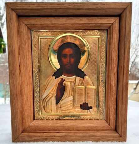 Старинная Икона Господь Вседержитель в серебряном окладе 84 пробы