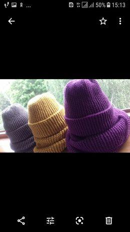 Вязанные комплекты(шапка+хомут)