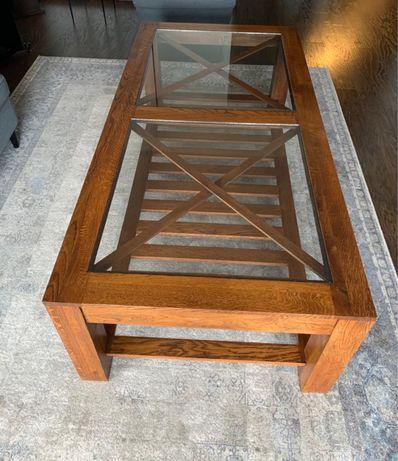 Ława duży stolik kawowy lity dąb 160x80x50 - Domoteka Kolonialne