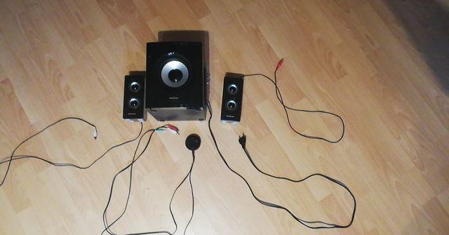 Głośniki Modecom 2.1 subwoofer 25W (uszkodzone)