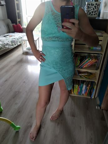 Sukienka S wizytowa okazjonalna 36 miętowa