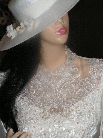 obłędna suknie ślubna jak z bajki tren ! M/L WYSYŁKA GRATIS !