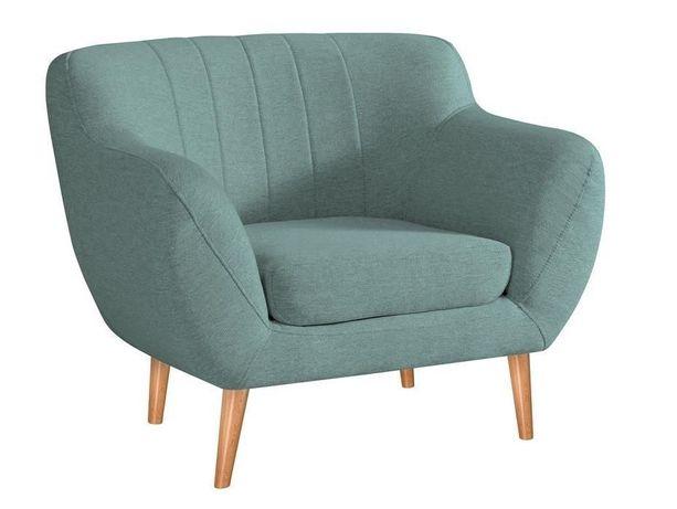 Fotel FINKA miętowy na nózkach uszak do salonu wiele kolorów vintage