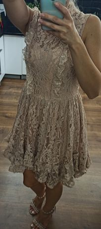 Sukienka koronkowa cielista beż a'la Lou Nowa 36 S