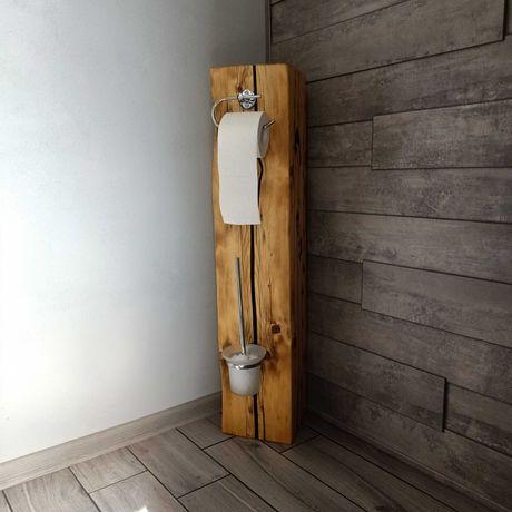 Belka drewniana loft łazienkowa stojak