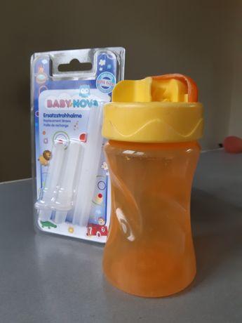 Непроливайка поилка с трубочкой baby nova c комплектом новых трубочек