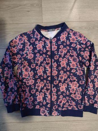 Bluza granatowa w kwiaty, bomberka, rozm. 158