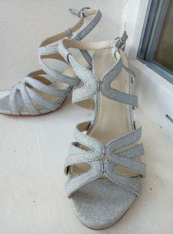 НОВЫЕ туфли босоножки блестящие на шпильке каблуке лето бальные