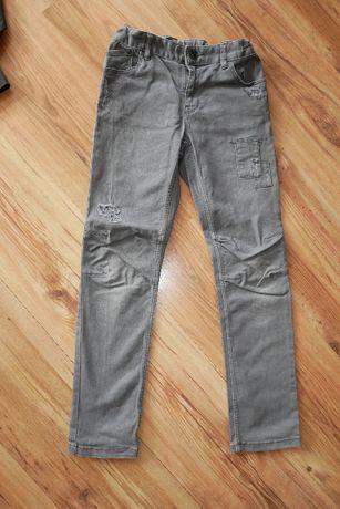 jeansy szare z H&M z łatkami