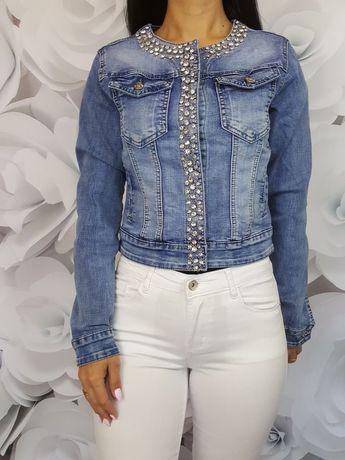 Kurtka jeansowa z cyrkoniami XS i XL