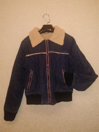 женская джинсовая теплая куртка весна осень