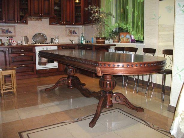 Стіл дубовий для вітальні. З декором розсувний 160-220 см/95.