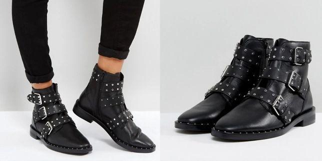 NOWE skóra skórzane czarne buty sztyblety ćwieki STRADIVARIUS