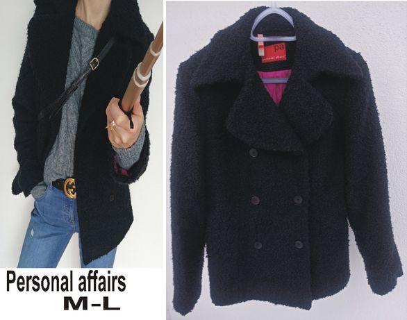 Czarny wełniana kurteczka płaszcztk bosmanka rozmiar M-L