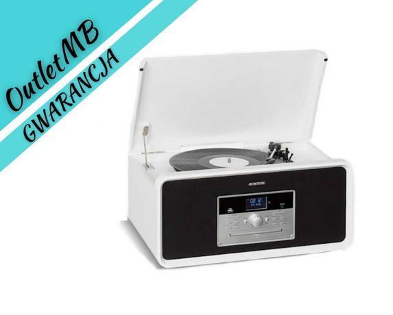 Wieża stereo gramofon radio DAB+ UKF USB Bluetooth biała 40830A