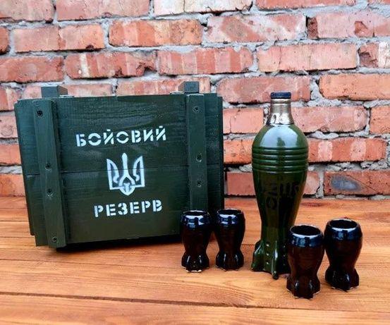 Подарочный набор мужчине, мина бутылка с рюмками в деревянном ящике