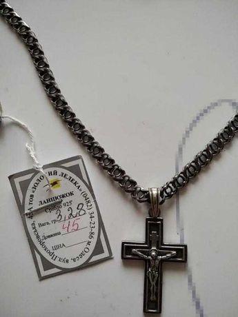 Ланцюжок сріблий з хрестиком 585 пр 4+4 гр