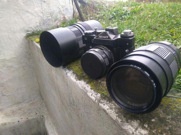 Фотоаппарат Зенит 11, объектив Юпитер 21м, объектив МТО500-3м-6а