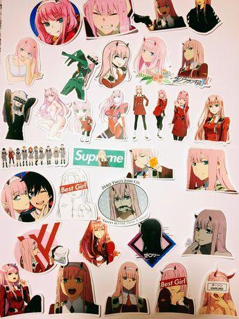 Komplet 50 naklejek anime manga Darling in the Franxx