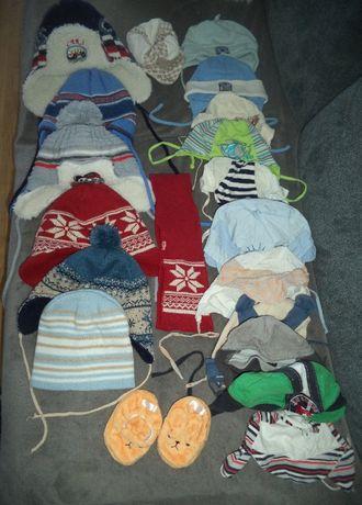 18 sztuk czapek letnie, przejściowe i zimowe od 0 do 2 lat