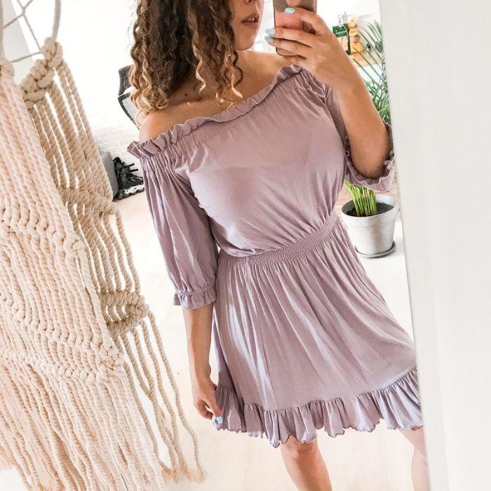 Liliowa sukienka z opadającymi ramiączkami Sugarfree S Rzeszów - image 1