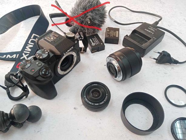Panasonic Lumix G7 + obiektywy 14 i 25mm + akcesoria