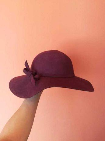 Elegancki bordowy wełniany kapelusz 100% wełna wool