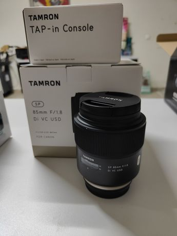 Tamron 85mm 1.8 + tap-in console para Canon EF