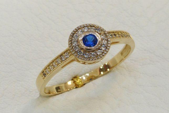 Złoty pierścionek z kamieniami 585 r. 20 - JUBILER GOLDRUN CHORZÓW