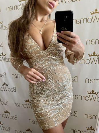 Sukienka koronka zdobiona cekiny mosh kujawa lou loveya lapoudre