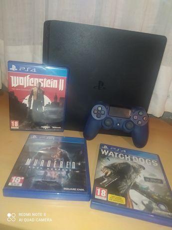 PS4 SLIM + Comando NOVO + 3 Jogos