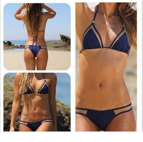 Strój kąpielowy dwuczęściowy czarny niebieski m siatka bikini