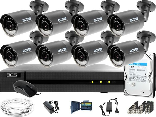 Zestaw Monitoring Full HD BCS Basic Full HD 2MPx 1TB H265+ 8 x Kamera